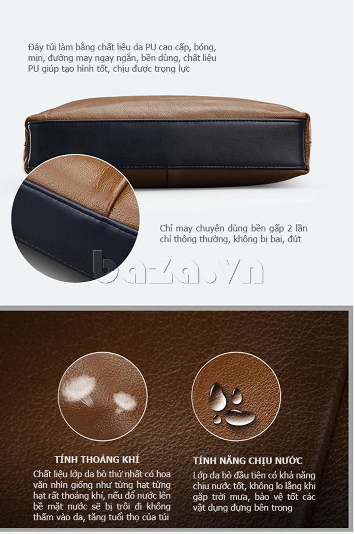 Túi xách nam thương gia Feger 951-2 - đáy túi chất liệu da PU mềm mịn, chắc bền