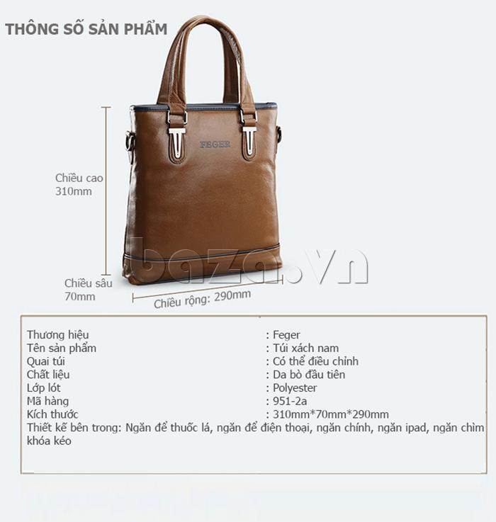 Thông số sản phẩm Túi xách nam thương gia Feger 951-2