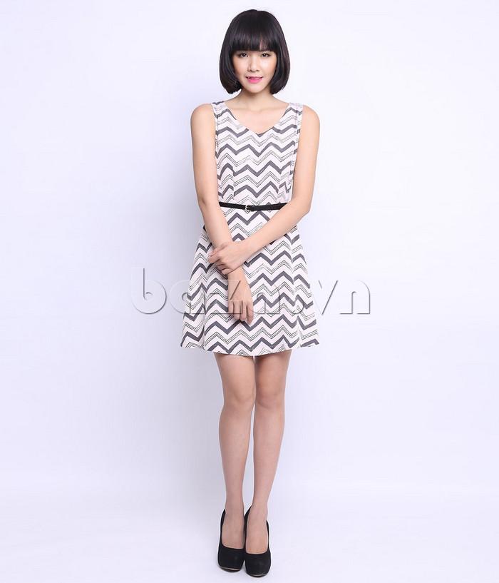 Váy đầm liền nữ cổ chữ V Canifa 6DS15S025