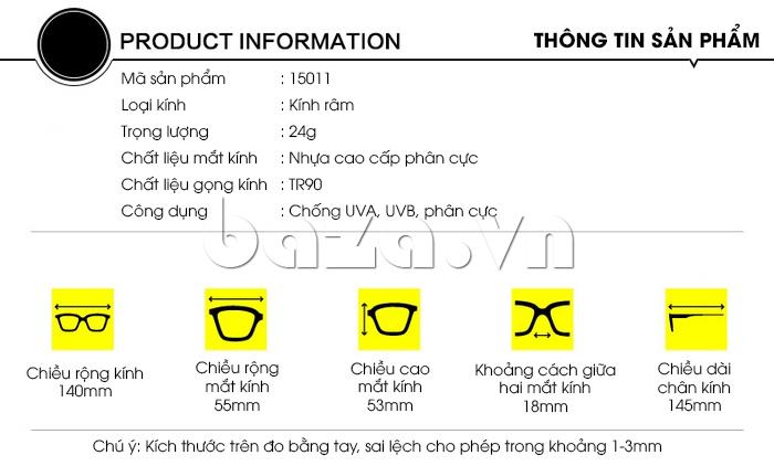 Thông tin sản phẩm Kính mắt phân cực BLSBlues 15011