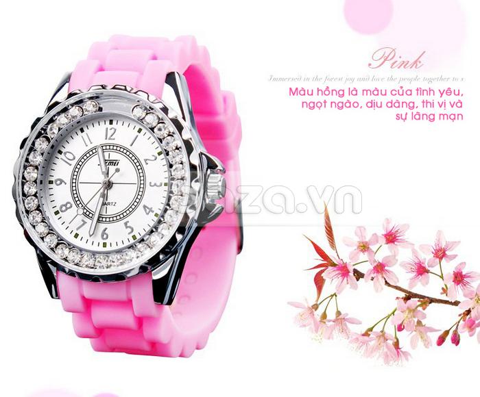 Đồng hồ nữ Skmei 0991 màu hồng ngọt ngào