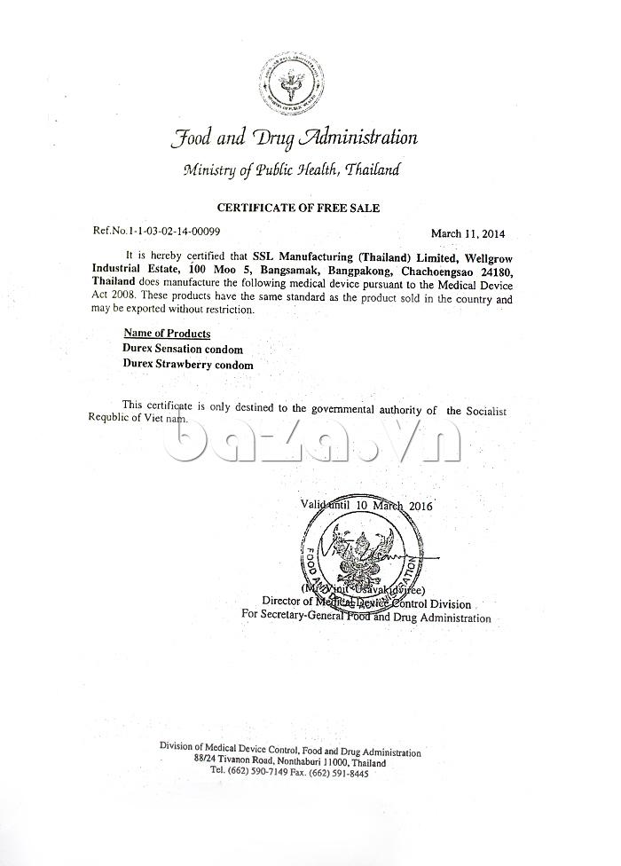 Bao cao su siêu mỏng Durex Fetherlite - Certificate of Free sale
