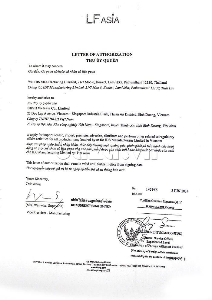 Thư ủy quyền phân phối sản phẩm Bao cao su siêu mỏng Durex Fetherlite
