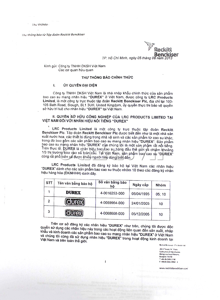 Ủy quyền đại diện phân phối sản phẩm Bao cao su siêu mỏng Durex Fetherlite