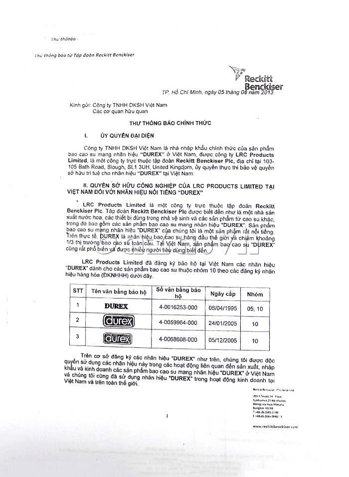 Thông báo chính thức về ủy quyền đại diện phân phối sản phẩm Gel bôi trơn âm đạo Durex Play Warming