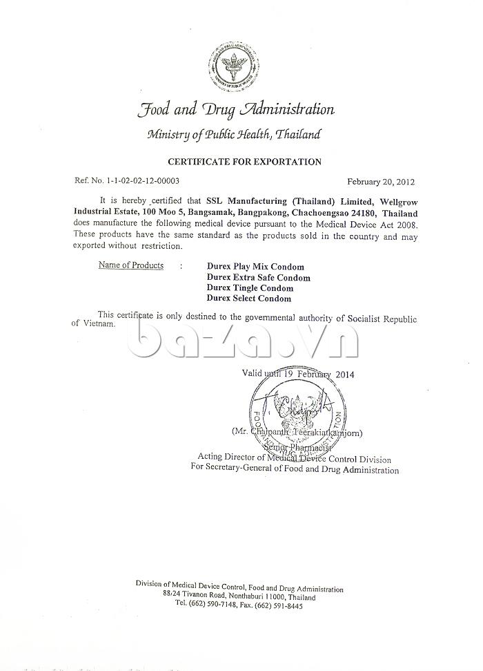 Bao cao su Durex Strawberry - giấy phép cho phép xuất khẩu