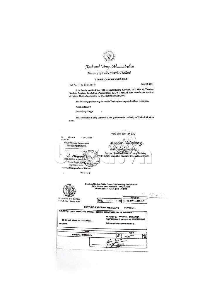 Bao cao su Durex Strawberry - chứng chỉ cho phép tự do lưu hành