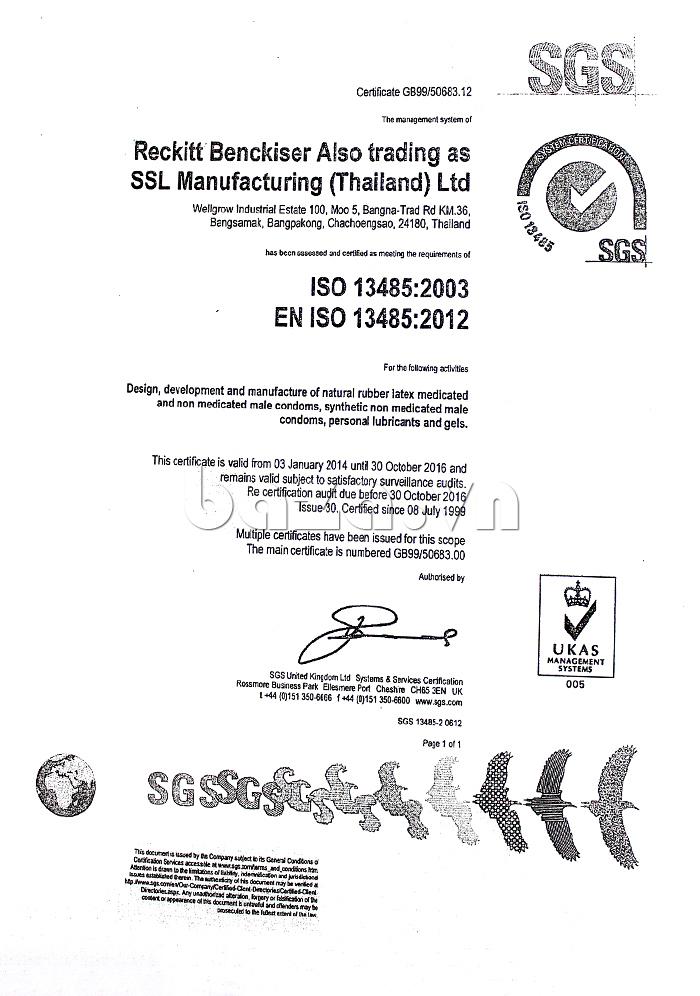 Bao cao su gân dọc Durex Love - đạt tiêu chuẩn quốc tế ISO 2012