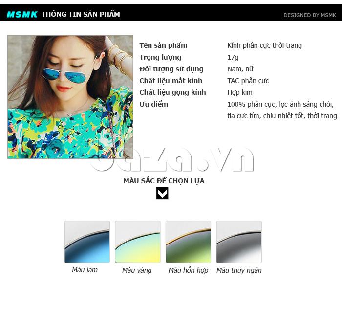 Kính nam tráng gương MSMK 8826 - màu sắc đa dạng