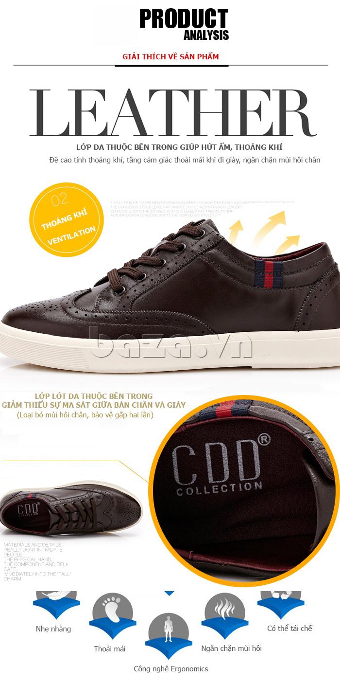 Giày da nam đục lỗ dáng thể thao CDD D691 mềm mại