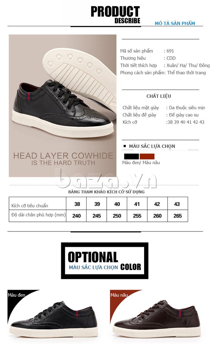 Giày da nam thời trang dáng thể thao CDD D691