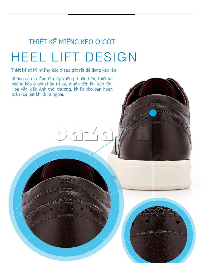 Giày da nam đục lỗ dáng thể thao CDD D691 - miếng lót gót tiện dụng