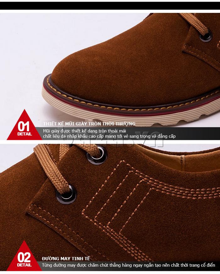 đường may của giày nam CDD 233 tinh tế