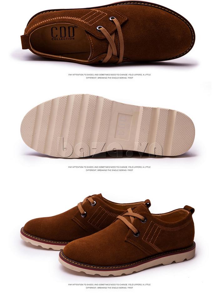giày nam CDD 233 màu kaki dễ phối đồ