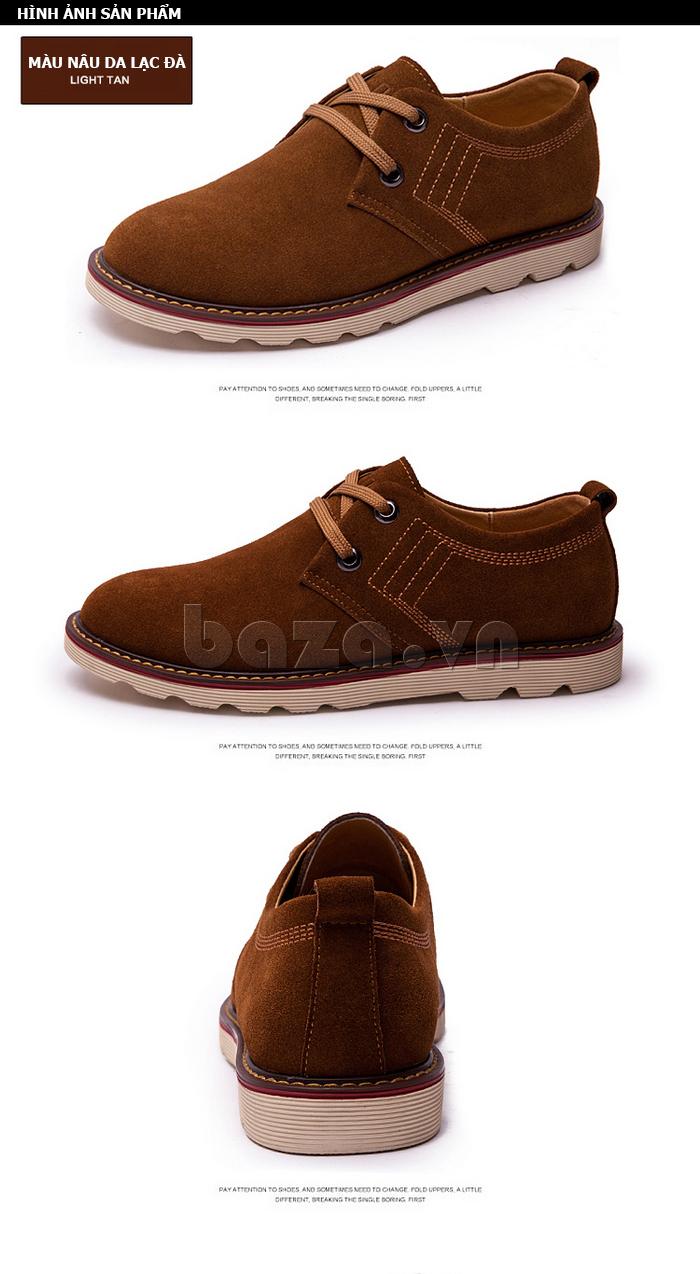 giày nam CDD 233 được làm từ da lộn, màu nâu da lạc đà