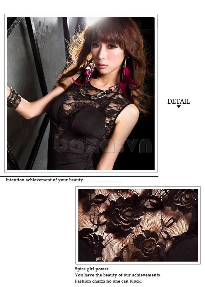 Váy liền thân bó sát quyến rũ Flower Angel A005 thiết kế chất liệu ren