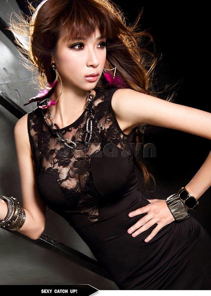 Váy liền thân bó sát quyến rũ Flower Angel A005 cắt xẻ táo bạo phần ngực