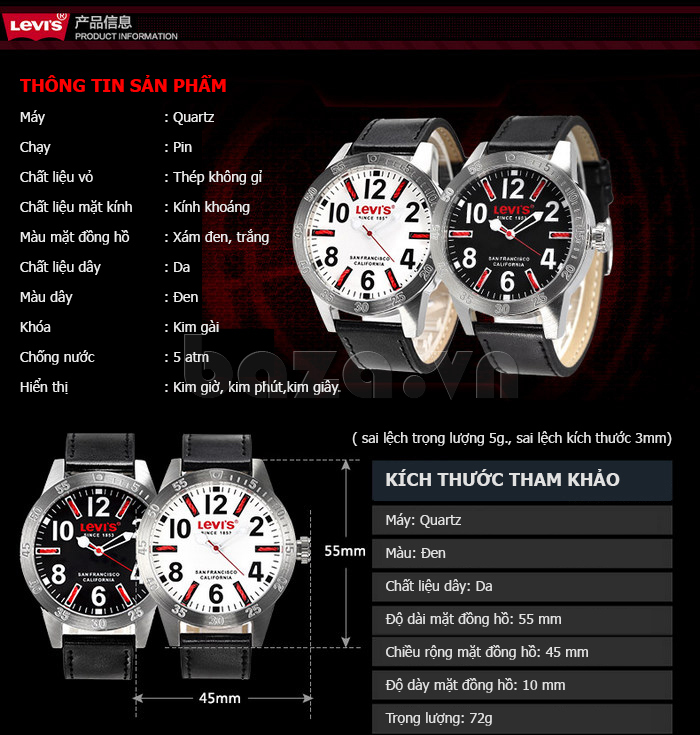 Đồng hồ nam Levis LTG08 số to bản, chống nước hiệu quả tuyệt vời