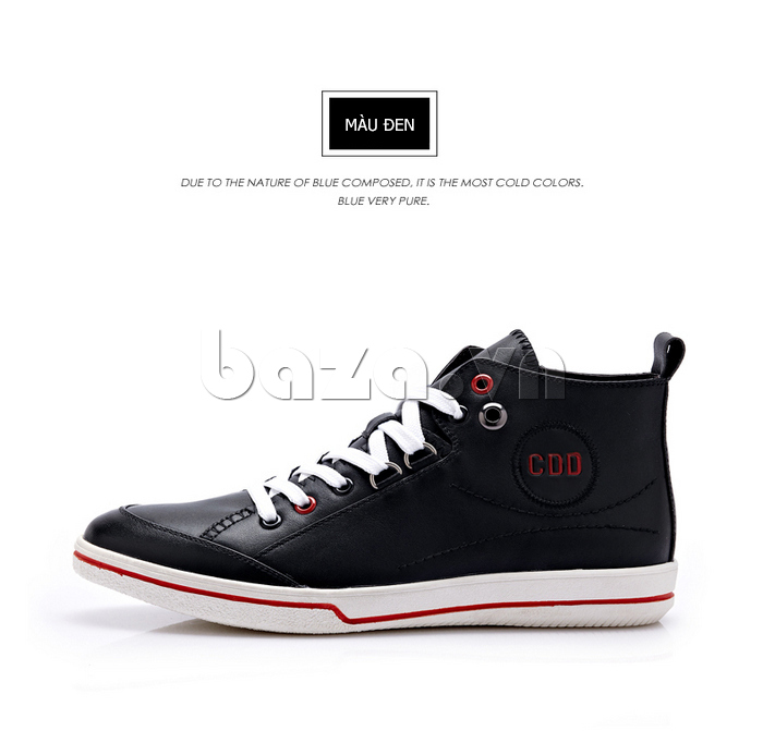 Giày nam thể thao CDD chất da thật màu đen thời trang