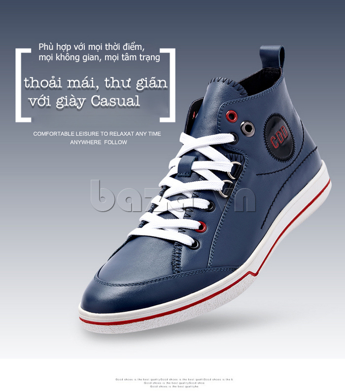 Giày da nam cổ cao CDD 1019