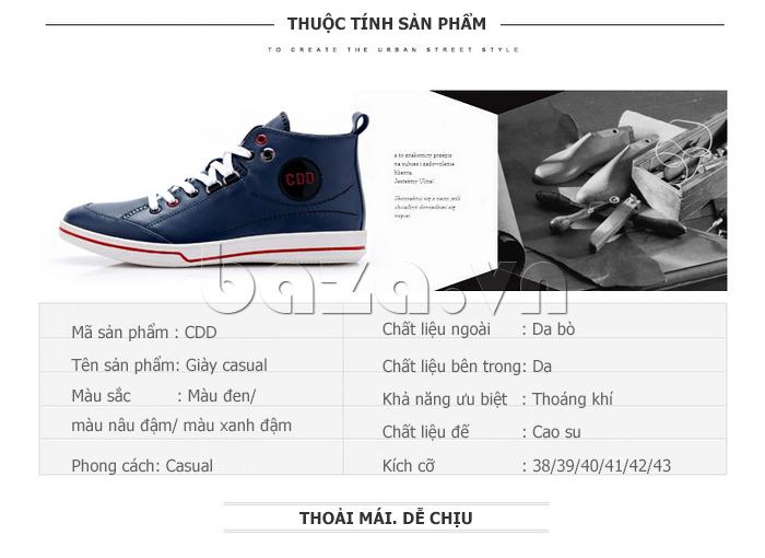 Giày nam cổ cao CDD 1019 chất liệu da bò