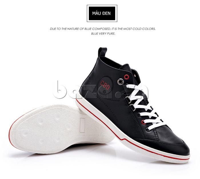 Giày nam thể thao CDD có đế giày màu trắng. nổi bật phần da giày màu sẫm