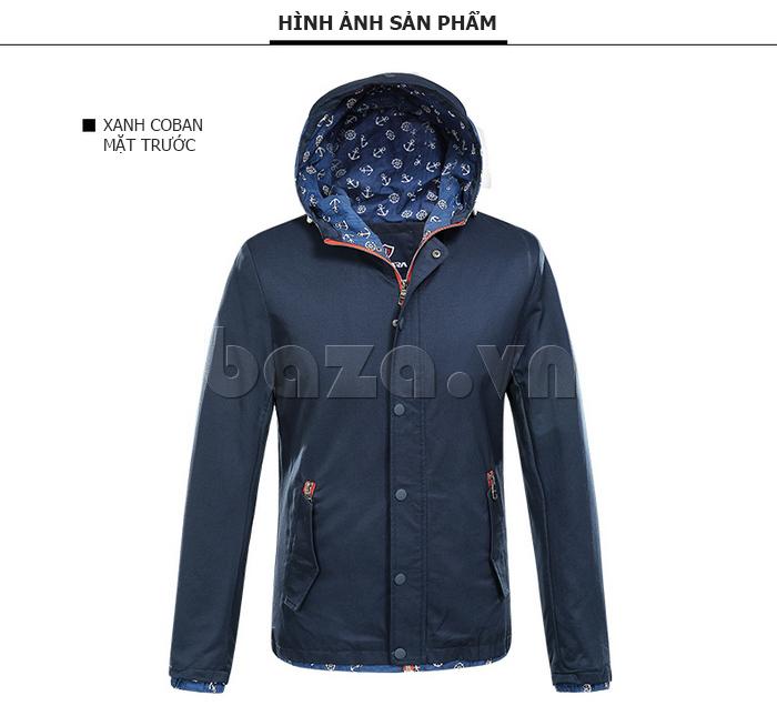 áo khoác nam  mũ trùm No1Dara WTN48506   màu xanh coban