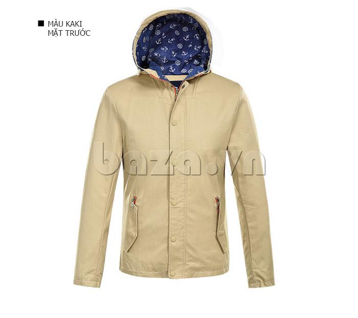 áo khoác nam  mũ trùm No1Dara WTN48506   màu kaki
