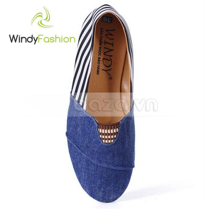 Giày Vải Jeans Phối Da Nữ Windy WD002 giàylười