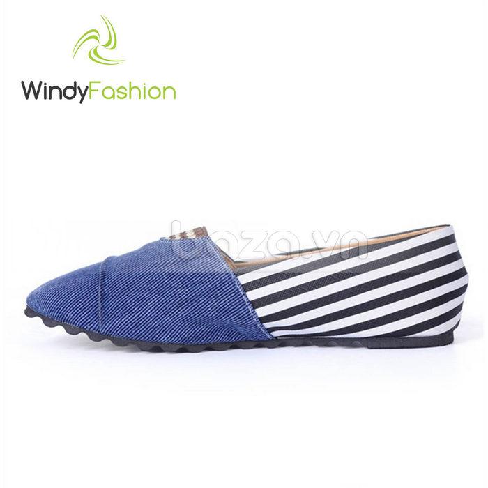 Giày Vải Jeans Phối Da Nữ Windy WD002 màu xanh