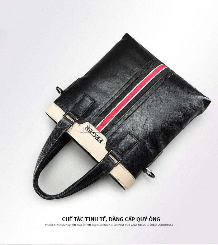 Túi da nam Feger 908-2 đen