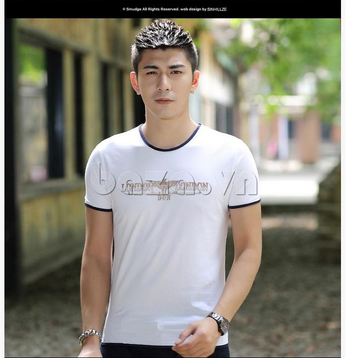 Áo T-Shirt nam Sinhillze 211 màu trắng viền xanh