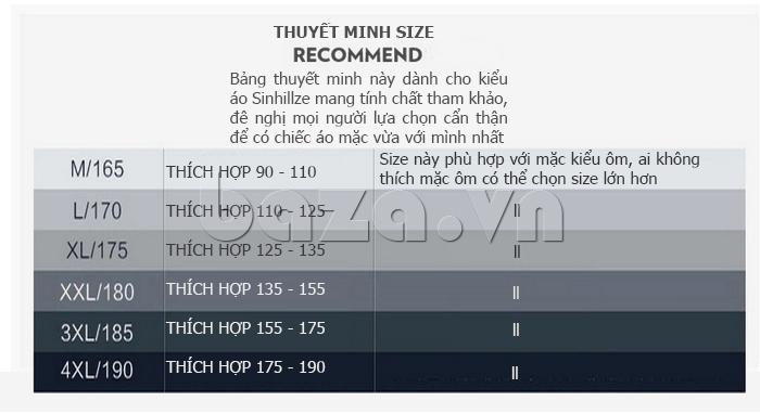 Size Áo T-Shirt nam cổ tròn Sinhillze 211