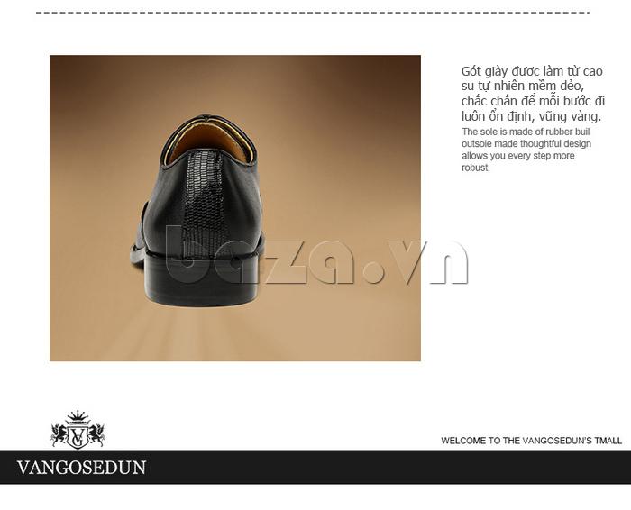 Giày da nam VANGOSEDUN VG6008 mũi da rắn gót giày cao tôn dáng