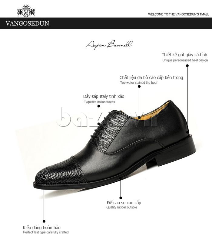 thông tin chi tiết của Giày da nam VANGOSEDUN VG6008 mũi da rắn