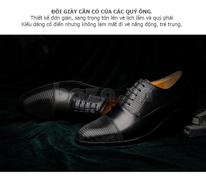 Giày da nam VANGOSEDUN VG6008 mũi da rắn trang trí họa tiết vân cá tính