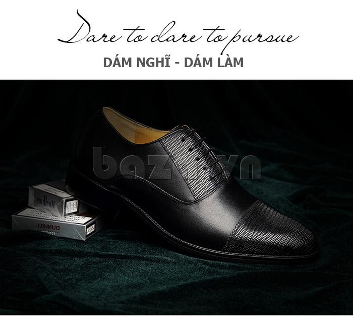 Giày da nam VANGOSEDUN VG6008 mũi da rắn màu đen lịch lãm