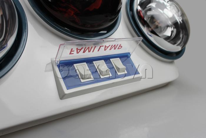 Đèn sưởi nhà tắm Fami có tia hồng ngoại với các công tác bấm tiện dụng