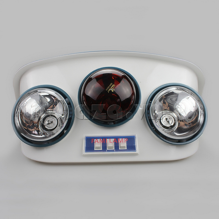 Đèn sưởi nhà tắm Fami có tia hồng ngoại có ba hộp đèn