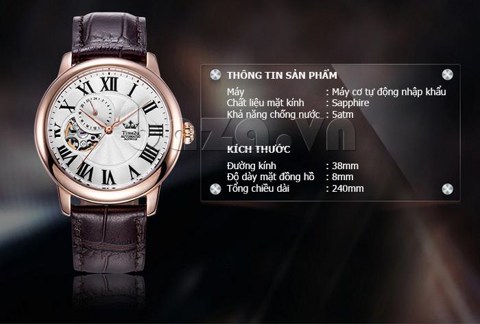 Đồng hồ nam Time2U 91-18997-30003 máy cơ tự động ấn tượng