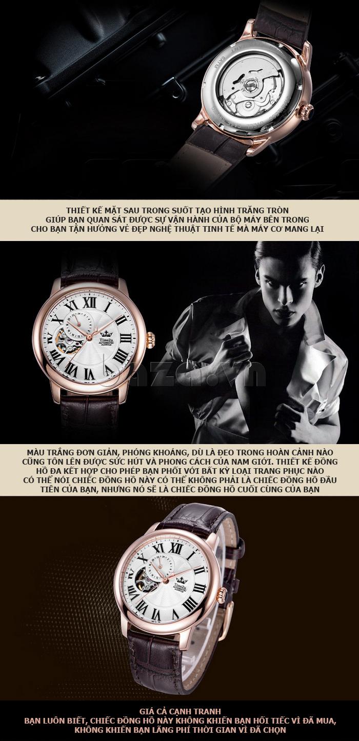 Đồng hồ nam Time2U 91-18997-30003 máy cơ tự động cuốn hút