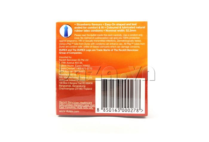 Bao cao su Durex Strawberry - chất lượng tuyệt hảo từ cao su tự nhiên