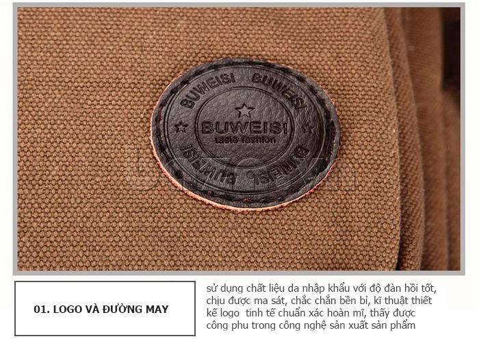 Balo du lịch BuweisiS053 may logo chất liệu da