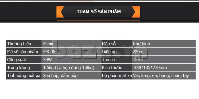 Tham số sản phẩm Máy massage đa năng Mimir MK-06
