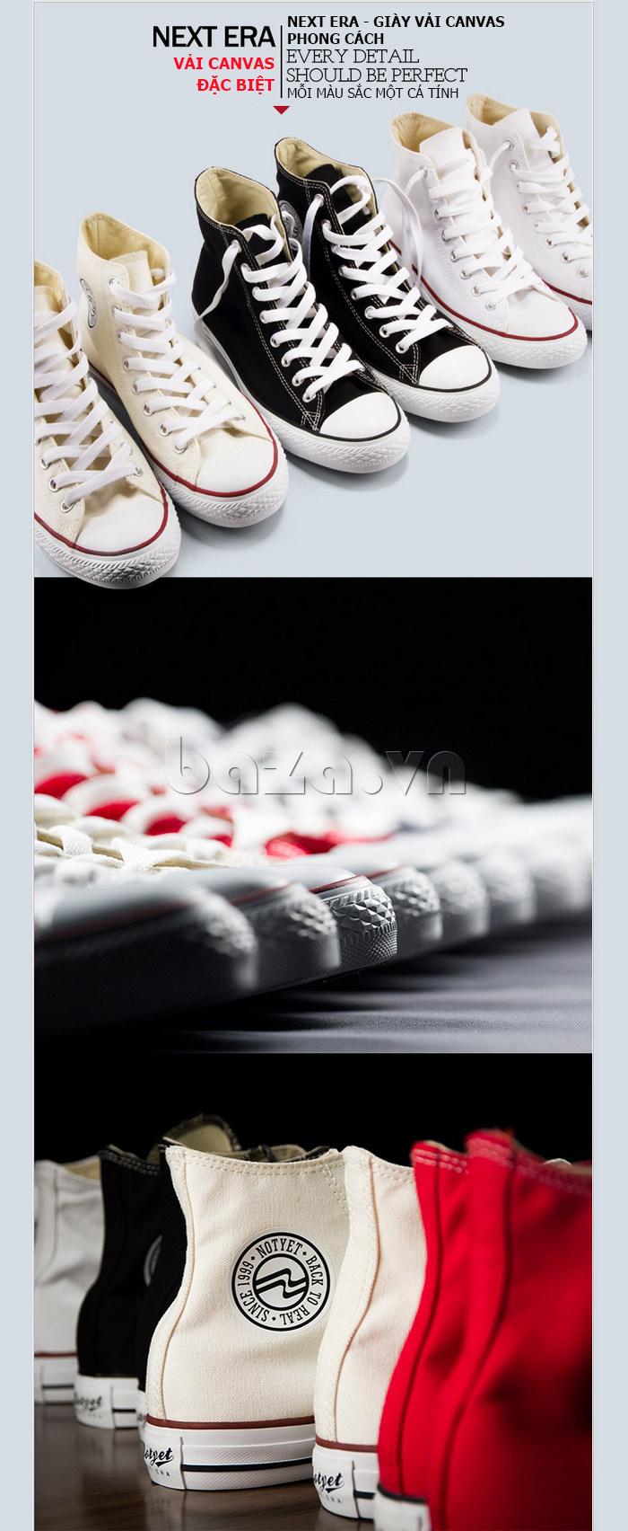 Giày vải nam Notyet NY-ZY3215 sử dụng vải canvas làm chất liệu chủ yếu