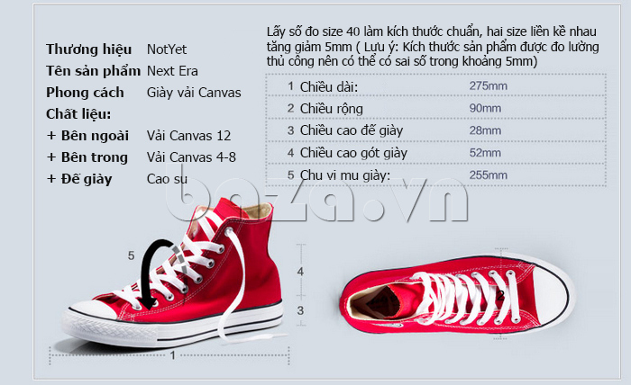 thông tin của Giày vải nam Notyet NY-ZY3215
