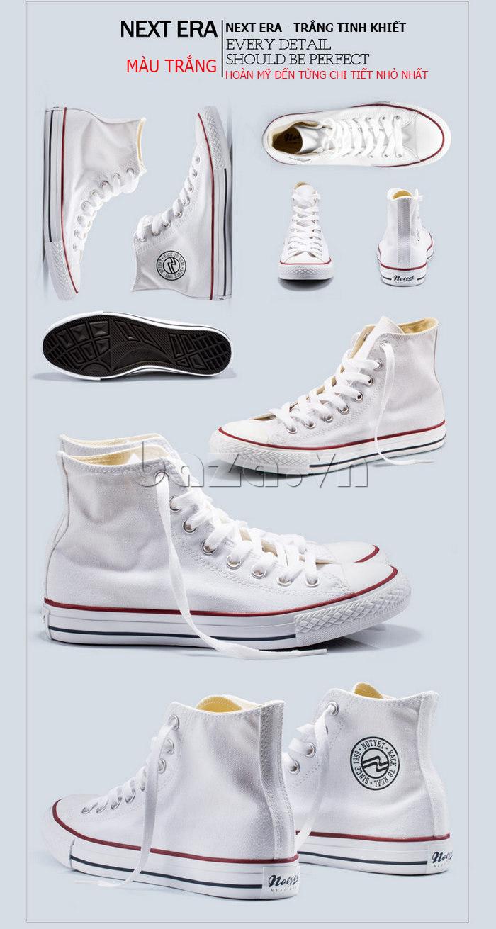 Giày vải nam Notyet NY-ZY3215 màu trắng trẻ trung