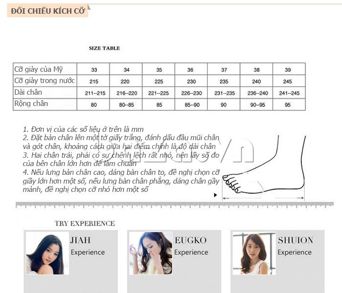 Thông tin kích thước của Giày nữ gót nhọn KAKANIYA 88-18