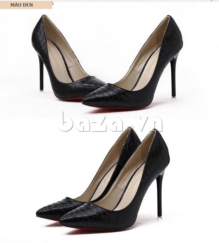 Giày nữ gót nhọn màu đen KAKANIYA 88-18