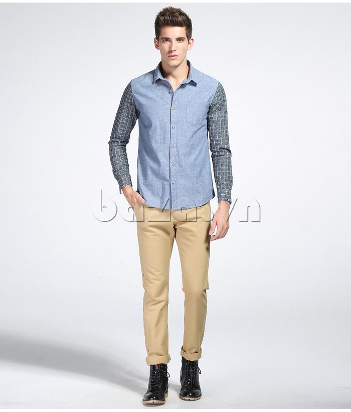 Áo sơ mi nam No1Dara CSN41207 Tay áo kẻ sọc trẻ trung chất liệu vải cao cấp
